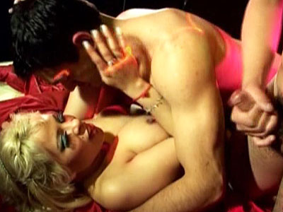 Blonde whore enjoys doggy make love at latin party.